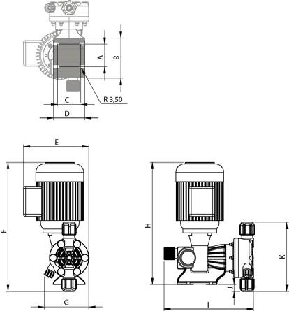 ابعاد پمپ تزریق موتوردار EMD M